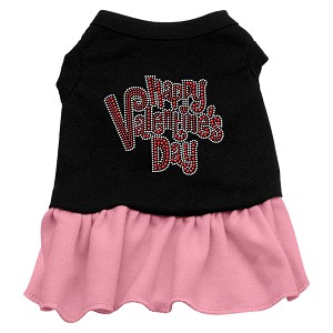 Happy Valentines Day Rhinestone Dress Black with Pink Lg (14)