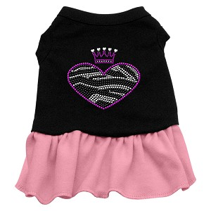 Zebra Heart Rhinestone Dress Black with Pink XL (16)