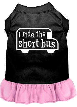 I ride the short bus Screen Print Dress Black with Light Pink Med (12)