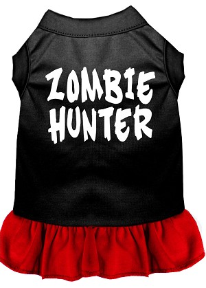 Zombie Hunter Screen Print Dress Black with Red Lg (14)