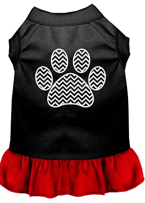 Chevron Paw Screen Print Dress Black with Red Sm (10)