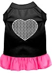 Chevron Heart Screen Print Dress Black with Bright Pink XL (16)