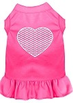 Chevron Heart Screen Print Dress Bright Pink XS (8)