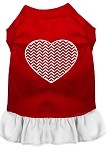 Chevron Heart Screen Print Dress Red with White XXL (18)