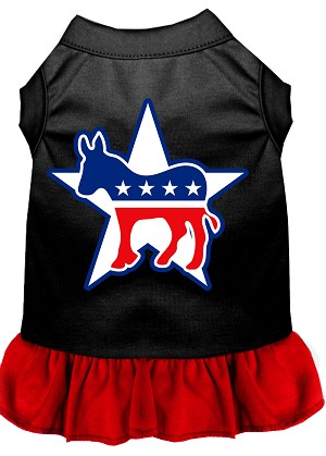 Democrat Screen Print Dress Black with Red XS (8)