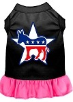 Democrat Screen Print Dress Black with Bright Pink Med (12)