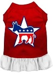 Democrat Screen Print Dress Red with White XS (8)