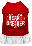 Heart Breaker Screen Print Dress Red with White XS (8)