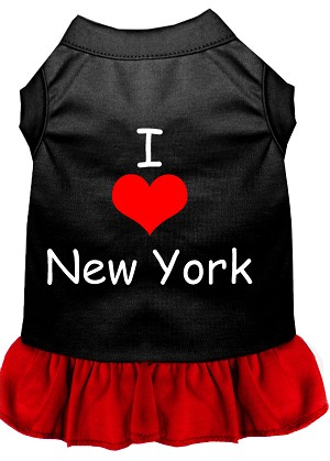 I Heart New York Screen Print Dress Black with Red XXL (18)