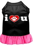 I Heart You Screen Print Dress Black with Bright Pink XS (8)