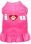 I Heart You Screen Print Dress Bright Pink XS (8)