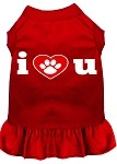 I Heart You Screen Print Dress Red XS (8)