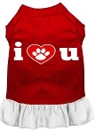 I Heart You Screen Print Dress Red with White XS (8)