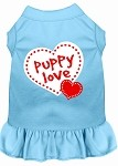 Puppy Love Screen Print Dress Baby Blue Med (12)