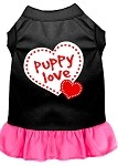 Puppy Love Screen Print Dress Black with Bright Pink XS (8)