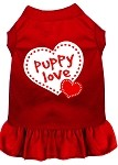 Puppy Love Screen Print Dress Red Sm (10)