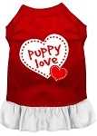 Puppy Love Screen Print Dress Red with White XS (8)