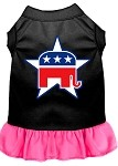 Republican Screen Print Dress Black with Bright Pink XS (8)