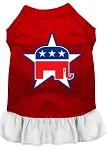 Republican Screen Print Dress Red with White XS (8)