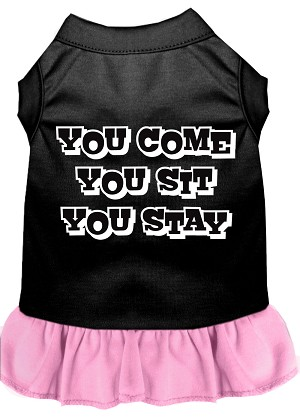 You Come, You Sit, You Stay Screen Print Dress Black with Light Pink Lg (14)