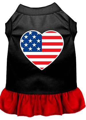 American Flag Heart Screen Print Dress Black with Red Lg (14)