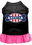 Bonely in America Screen Print Dress Black with Bright Pink XXL (18)