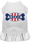 Bonely in America Screen Print Dress White Med (12)