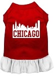 Chicago Skyline Screen Print Dog Dress Red with White XS (8)