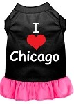 I Heart Chicago Screen Print Dog Dress Black with Bright Pink XXL (18)