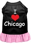 I Heart Chicago Screen Print Dog Dress Black with Light Pink XS (8)