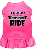 Bitches Ride Screen Print Dog Dress Bright Pink XS (8)