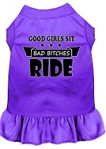 Bitches Ride Screen Print Dog Dress Purple Med (12)