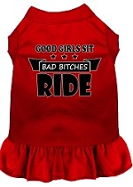 Bitches Ride Screen Print Dog Dress Red XS (8)