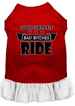 Bitches Ride Screen Print Dog Dress Red with White XS (8)