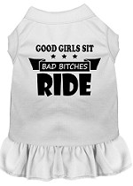 Bitches Ride Screen Print Dog Dress White Med (12)