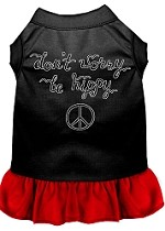 Be Hippy Screen Print Dog Dress Black with Red XS (8)