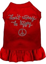 Be Hippy Screen Print Dog Dress Red XS (8)