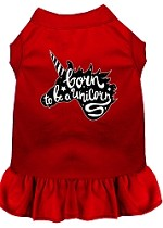 Born to be a Unicorn Screen Print Dog Dress Red XS (8)