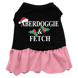 Aberdoggie Christmas Screen Print Dress Black with Light Pink XS (8)