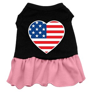 American Flag Heart Screen Print Dress Black with Light Pink Lg (14)