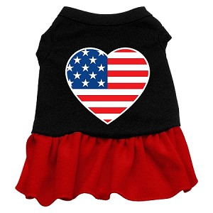 American Flag Heart Screen Print Dress Black with Red XXL (18)