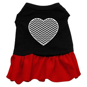 Chevron Heart Screen Print Dress Black with Red XXL (18)