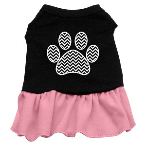 Chevron Paw Screen Print Dress Black with Pink Med (12)