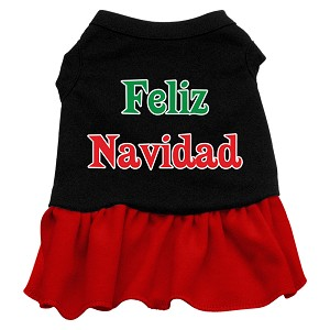Feliz Navidad Screen Print Dress Black with Red XS (8)