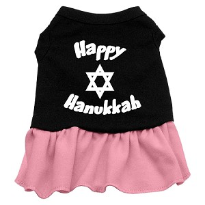 Happy Hanukkah Screen Print Dress Black with Pink XXXL (20)