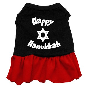 Happy Hanukkah Screen Print Dress Black with Red XL (16)
