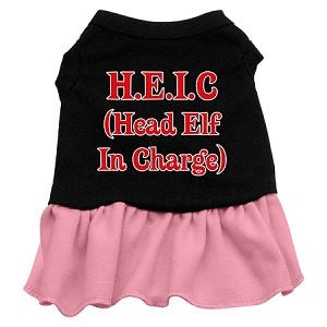 Head Elf in Charge Screen Print Dress Black with Light Pink XXXL (20)