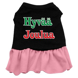 Hyvaa Joulua Screen Print Dress Black with Pink XS (8)