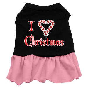 I Love Christmas Screen Print Dress Black with Light Pink XXL (18)