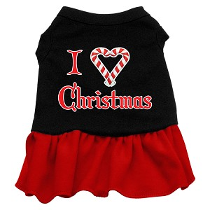 I Love Christmas Screen Print Dress Black with Red Sm (10)